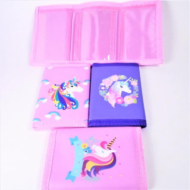 New Unicorn Theme Tri Fold Wallets 12 per pk  .62 each