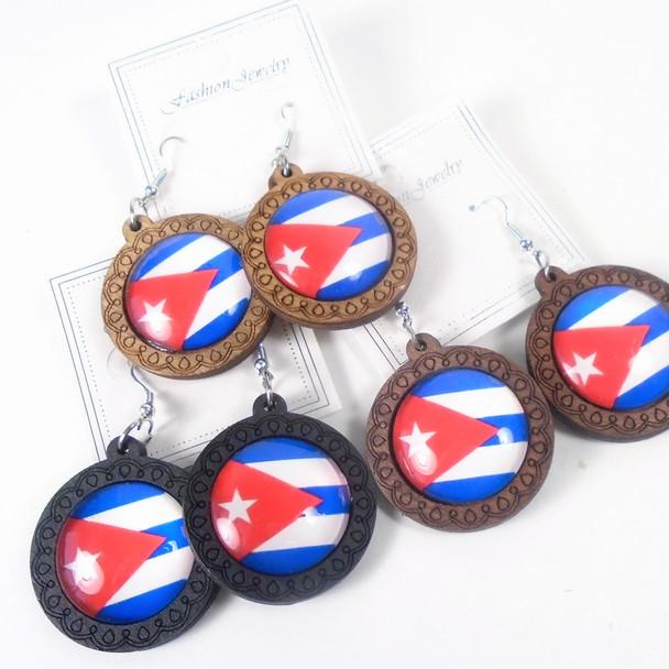 "1.25"" Round CUBA Flag Wood Earrings 3 colors .54 per pair"