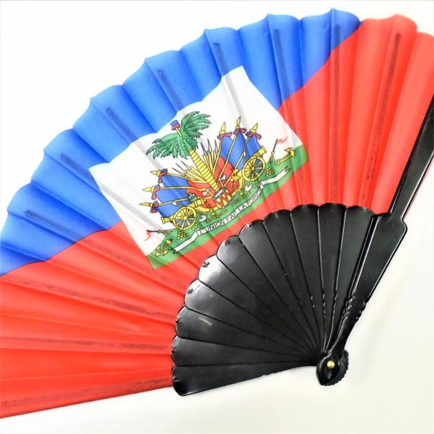 """9"""" Haiti Country Flag Hand Fans 12 per pk  .56 each"""