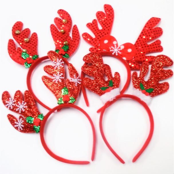 "Christmas 5"" Reindeer Fun Headbands 4 styles .62 each"