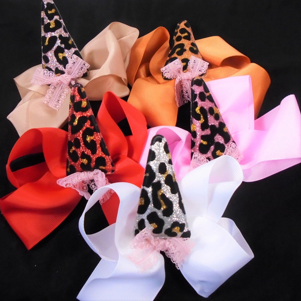 """5""""  Gator Clip Bows Mixed  Colors w/ Animal Print Horn  & Lace  .54 ea"""