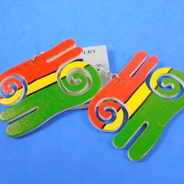 """2.75""""  Rasta Color  Wood Symbol Earrings  .54 per pair"""