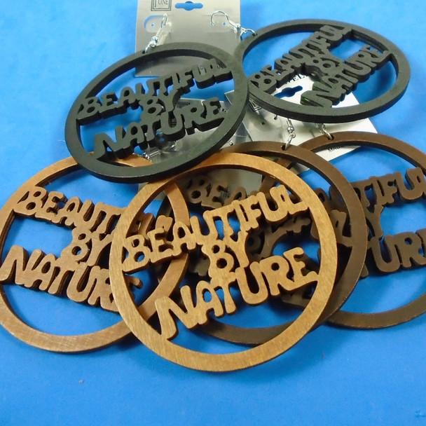"3"" Wood Earrings Beautiful by Nature 3 colors .56 per pair"