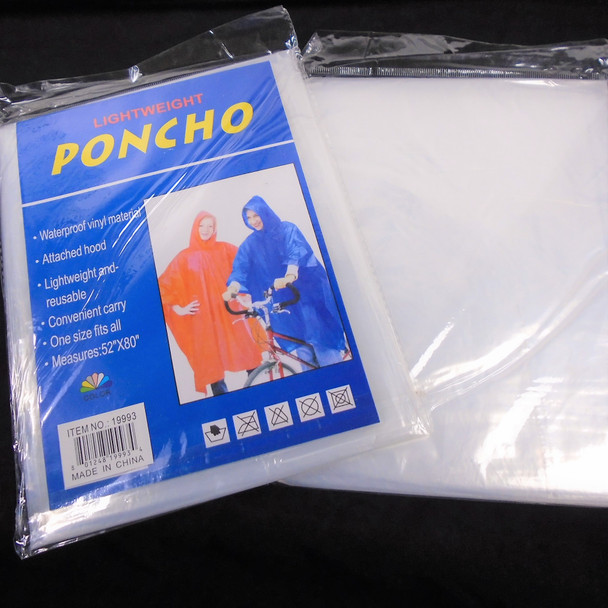 Waterproof Emergency Rain Poncho All Clear 12 per pk .65 each