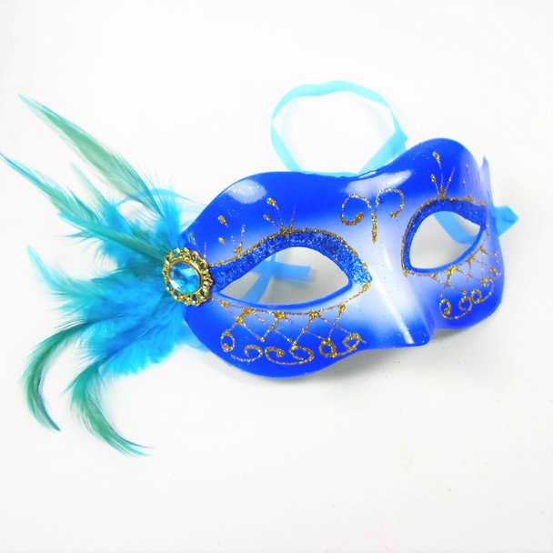 Party Mask w/ Faux Side Feathers Asst Colors (133A)  .56 each
