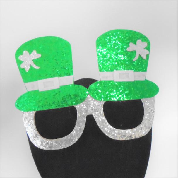 "6"" X 4.5"" Green & Silver Sparkle St. Patrick's Day Novelty Lenseless Glasses 12 per pk  .62 each"