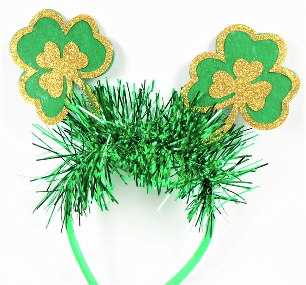 Happy  St. Patrick's Day Novelty Headbands Bobbie Shamrocks w/ Tinsel  12 per pk .60  ea