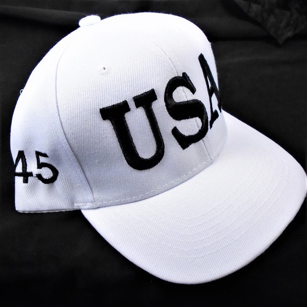 USA 45 Flag Baseball Caps All White  sold by pc $ 3.00 per hat