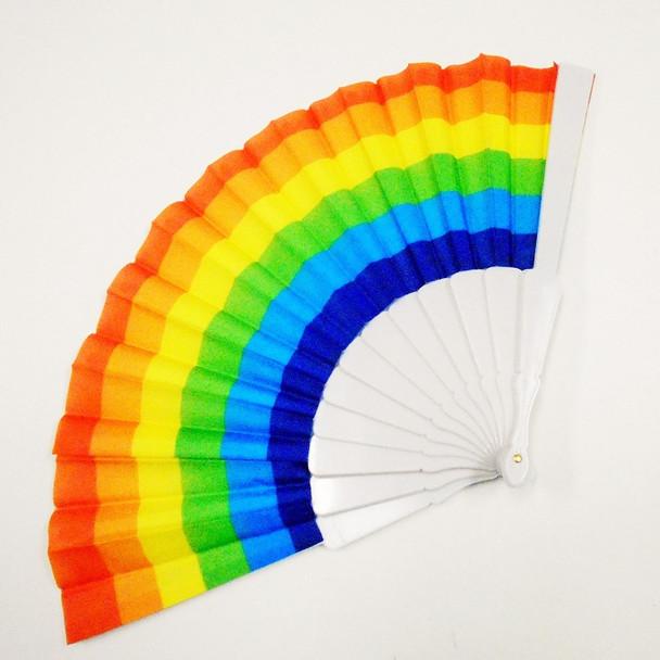 "9"" White Handle Rainbow Hand Fans 12 per pack  .56 ea"