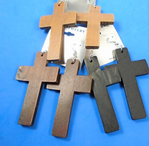 "3"" Wood Cross  Earrings 3 colors per dz   .56 per pair"