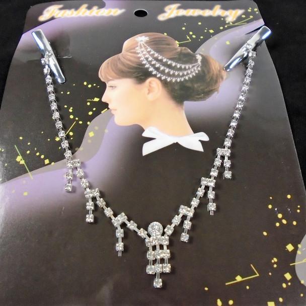 Silver w/ Clear Rhinestone Hair Jewelry w/ Clip .56 each