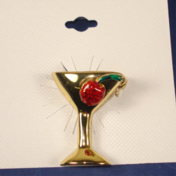 """1.25"""" Gold Cocktail Broach w/ Cherry .50"""
