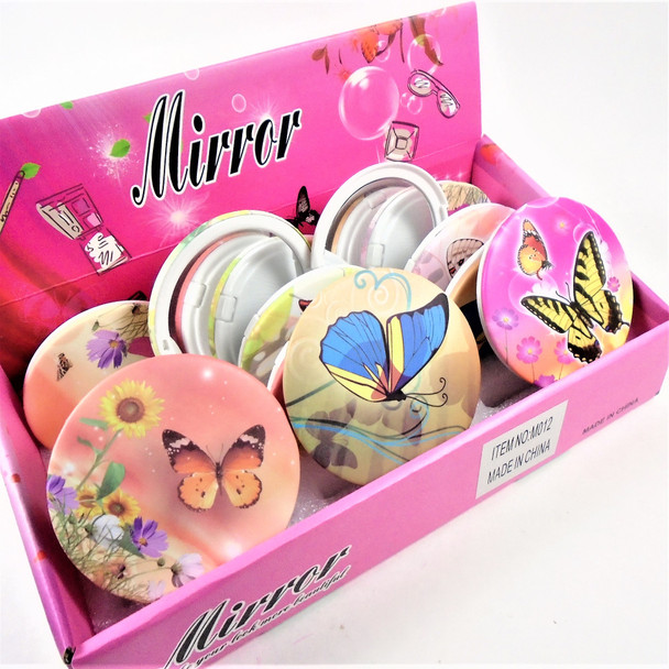 Colorful Butterfly Theme Round DBL Compact Mirror in Display (012) .60  each