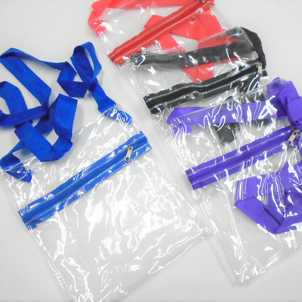 "6.5"" X 8"" Transparent Zipper Bag w/ Long Strap .65 each"