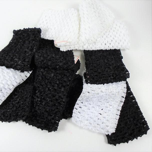 "3- Pack 2.5"" Black & White Stretch Crochet Headbands  .42 per set"