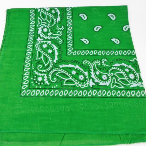 Bandana Green DBL Sided Printed 100% Cotton .60 each