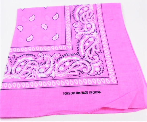Bandana Pink DBL Sided Printed 100% Cotton .60 each