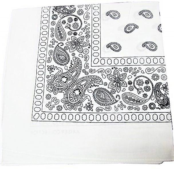 Bandana White DBL Sided Printed 100% Cotton .60 each