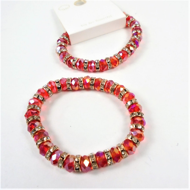 Red Color Cry. Glass Bead Stretch Bracelet w/ Mini Cry, Stones .58 each