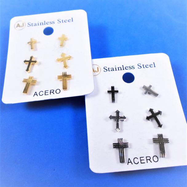 3 Pair Gold & Silver Stainless Steel Earrings Cross Theme   .58 per set