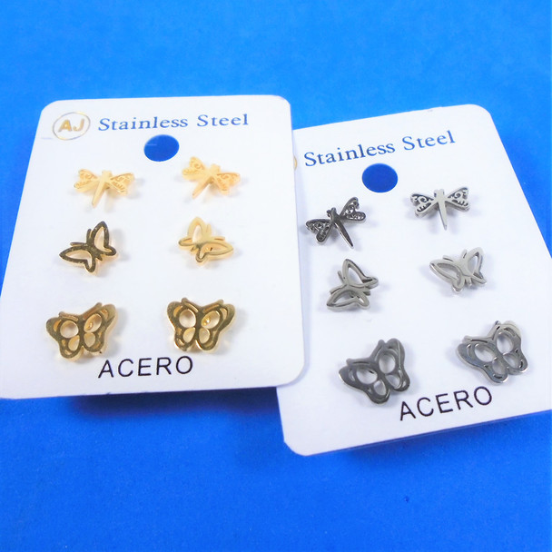 3 Pair Gold & Silver Stainless Steel Earrings Butterfly Theme  .58 per set