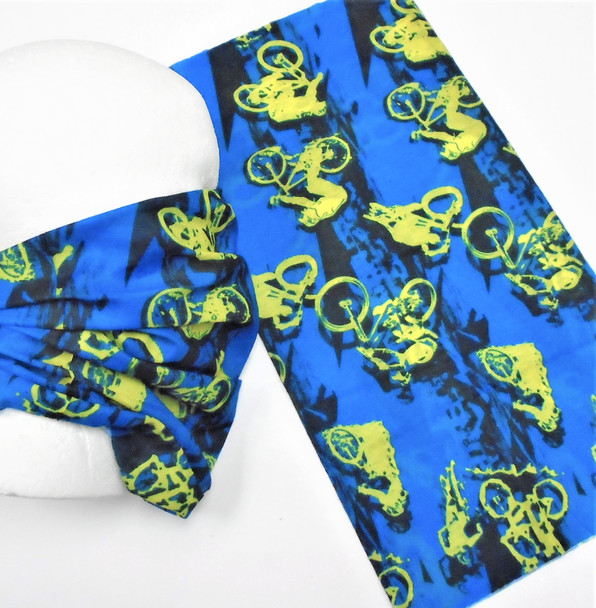 Multifunction Face Mask Scarf  Blue Cycling Theme (74233) 10 per pk .75 each