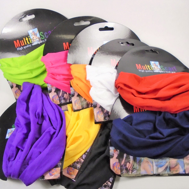 Carded Multifunctional Scarf/Headwear/ Mask  9- Colors as shown  .60  each