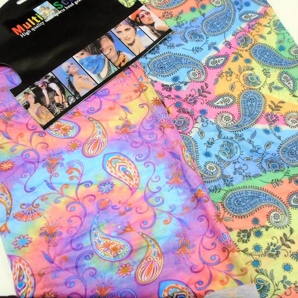 Carded Multifunctional Scarf/Headwear /Face MASK Tye Dye Paisley   .66  ea