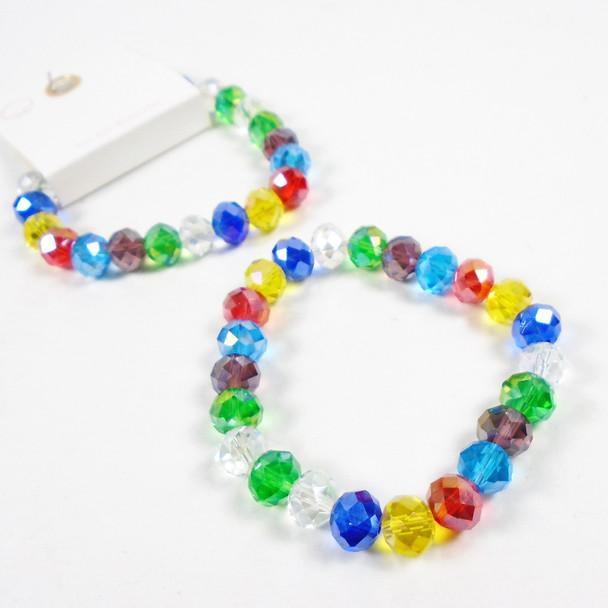 10MM Multi Bright Color Crystal Bead  Stretch Bracelets 12 per pk .60  each