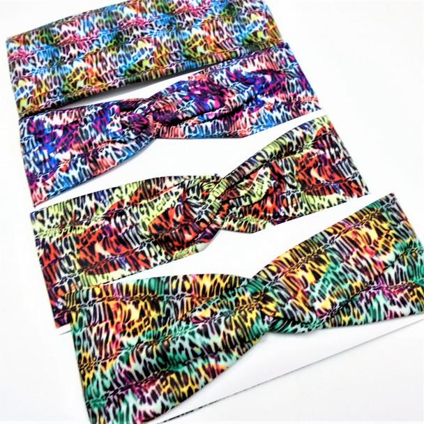 """3"""" Wide Multi Color Safari Theme Stretch Headbands  12 per pk .58 ea"""