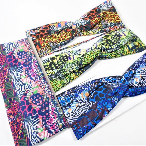 """3"""" Wide Fashion Safari  Print  Stretch Headbands (1249) 12 per pk .58 ea"""