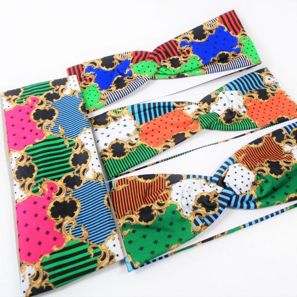"3"" Wide Mixed Fashion Print  Stretch Headbands (1256) 12 per pk .58 ea"