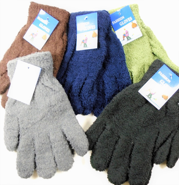 Unisex Fuzzie Winter Gloves Asst Colors  12 pairs per pk .62 ea pair