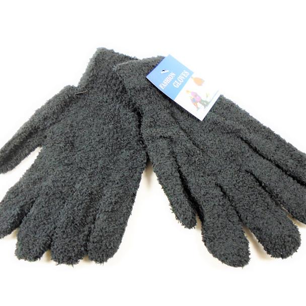 Unisex Fuzzie Winter Gloves All Black 12 pairs per pk .62 ea pair