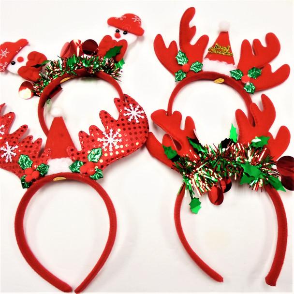 Festive Christmas  Fun Headbands 4 styles per dz  .60 each