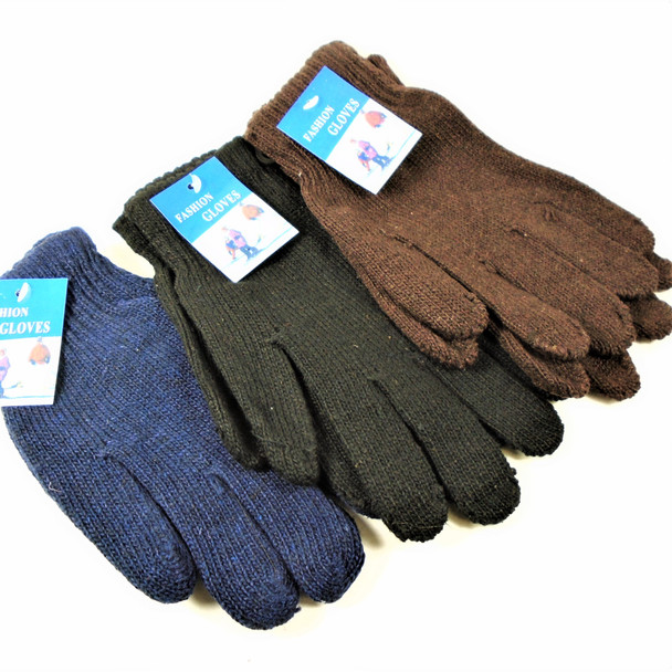 Men's Large  Knit Winter Gloves Solid Dark Colors  .65 per pair