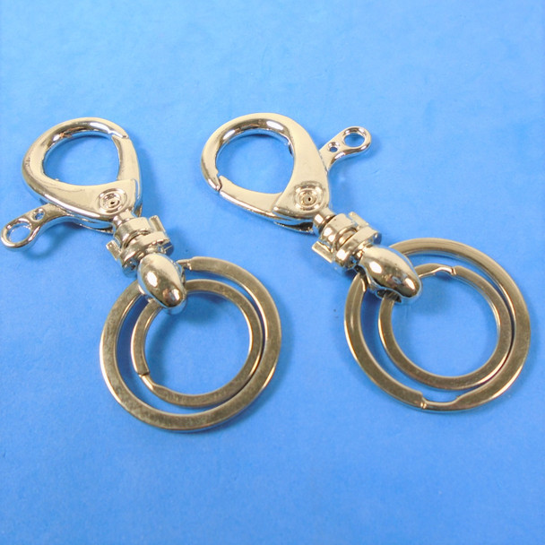 "3"" DBL Silver Ring Clip On Key Chain 12 per pk  .52 ea"