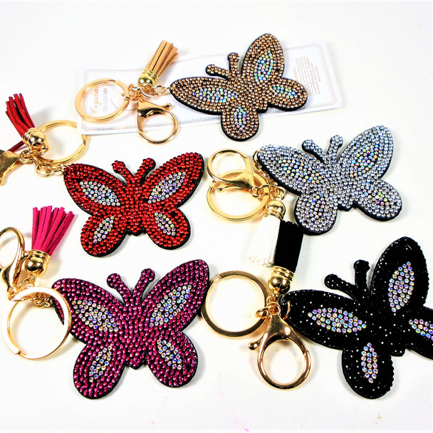 """3"""" Crystal Stone Butterfly  Bling Keychains w/ Tassel & Clip 12 per pack .65 ea"""
