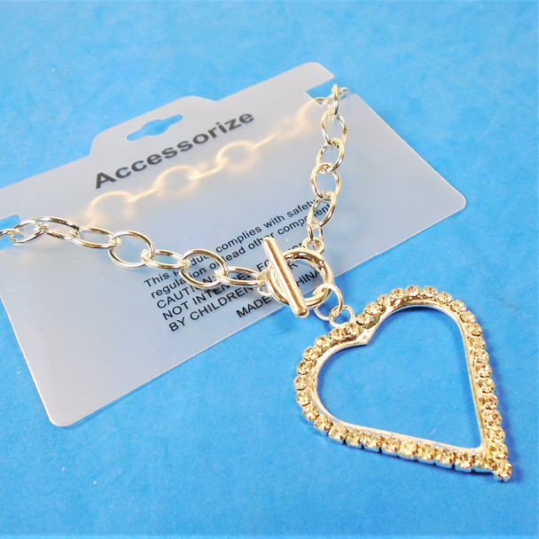 Silver Link Toggle Bracelet w/ Big Cry. Stone Heart  12 per pk .58 ea