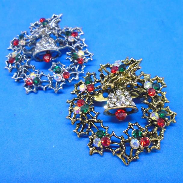 "1.5"" Cast Gold & Silver Wreath Christmas Broach w/ Crystals .58 ea"