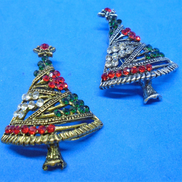 """1.5"""" Cast Gold & Silver Christmas Tree  Broach w/ Crystal Stones  .58 ea"""
