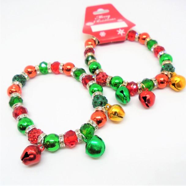 Lg. Christmas Theme  Bracelets w/ Crystal Beads & Jingle Bells   .60 ea