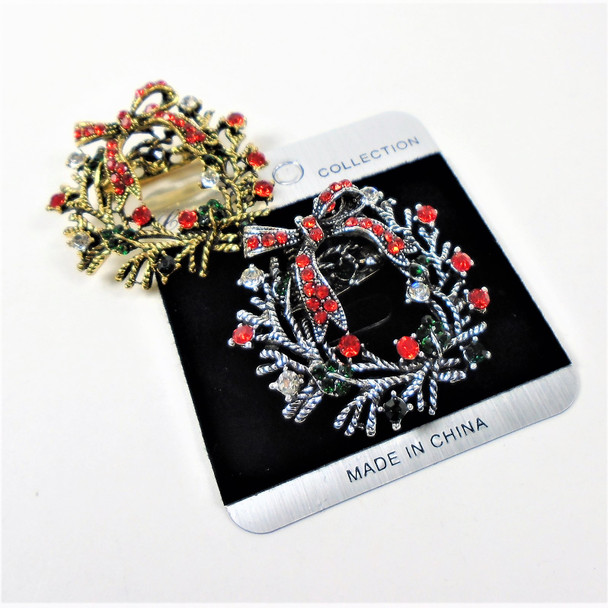 "1.5"" Cast Gold & Silver Wreath w/ Bow Christmas Broach w/ Crystals .58 ea"