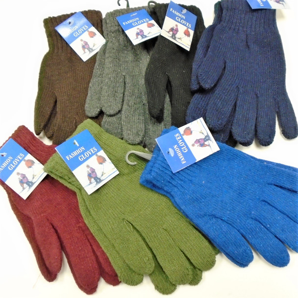 Men's Large  Knit Winter Gloves Solid Mixed  Colors  .70 per pair