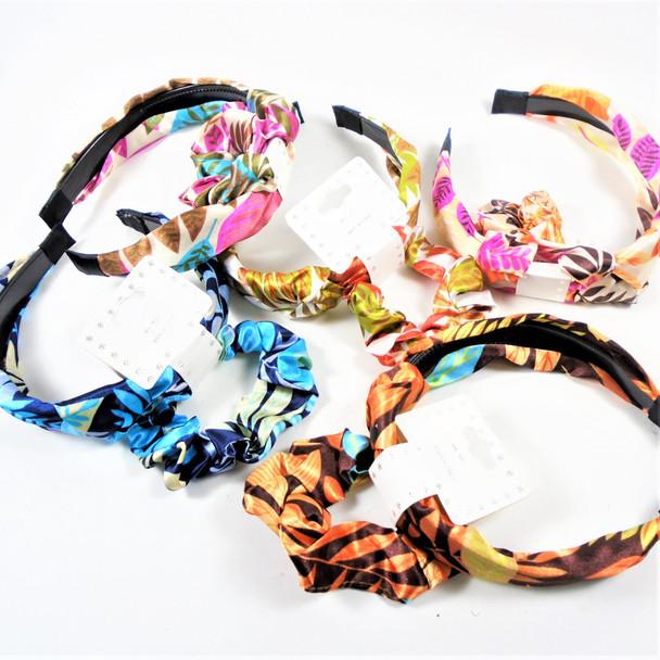 Fashion Headband w/ Knot & Scrungi Set Tropical Pattern   .56 per set