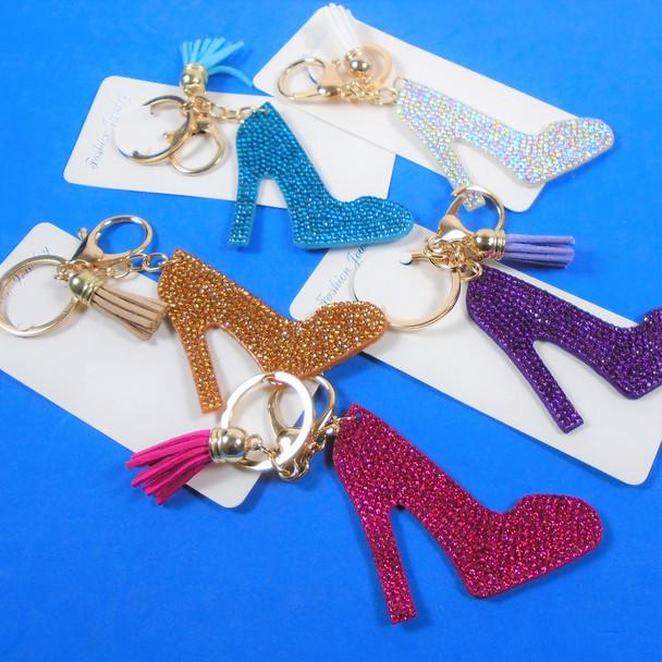 "3"" Crystal Stone HI HEEL Bling Keychains w/ Tassel & Clip 12 per pk .65 ea"
