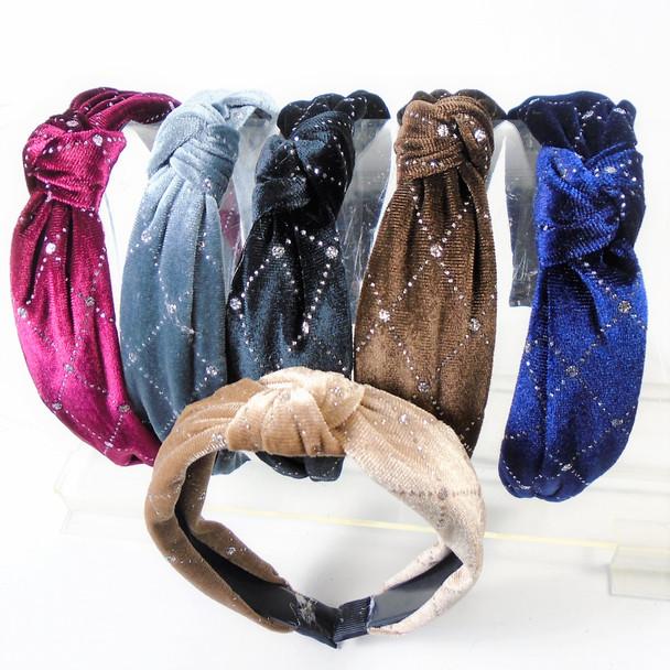 """1.5"""" Silver Sparkle  Pattern Velvet Fashion Headbands w/ Knot"""