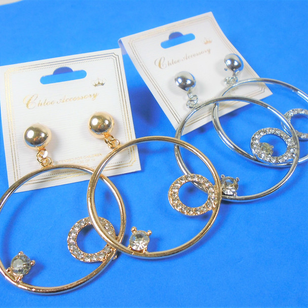 "Stylish 1.5"" Gold & Silver Hoop Earrings w/ Crystal Stones   .56 per pair"