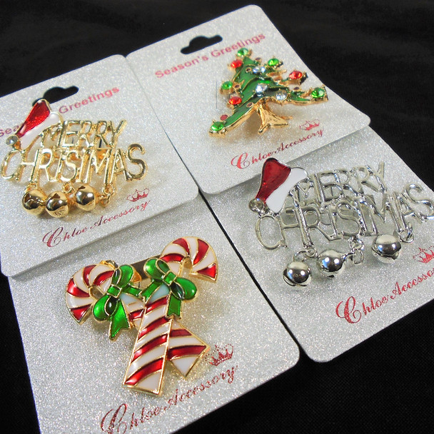 "GREAT VALUE 2"" Cast Gold & Silver  Christmas Broaches as shown  .58 ea"