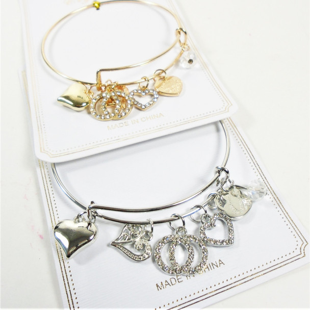 Gold & Silver Wire Bangle Bracelet w/ Mixed Fashion  Charms (3866)  .58  each